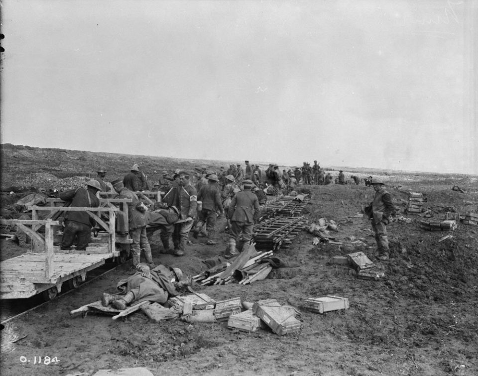 Loading the Vimy injured onto Canadian light rail (LAC M#3521848).