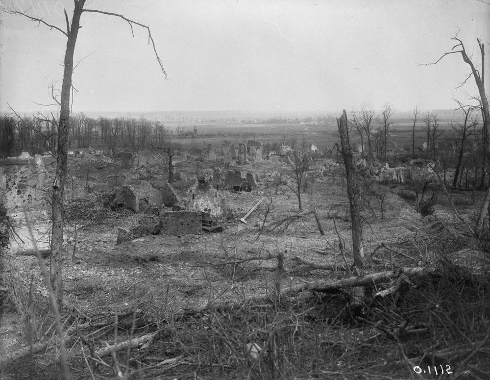 Farbus, a village, captured by the Canadians during the Battle of Vimy Ridge (LAC M#3521866).