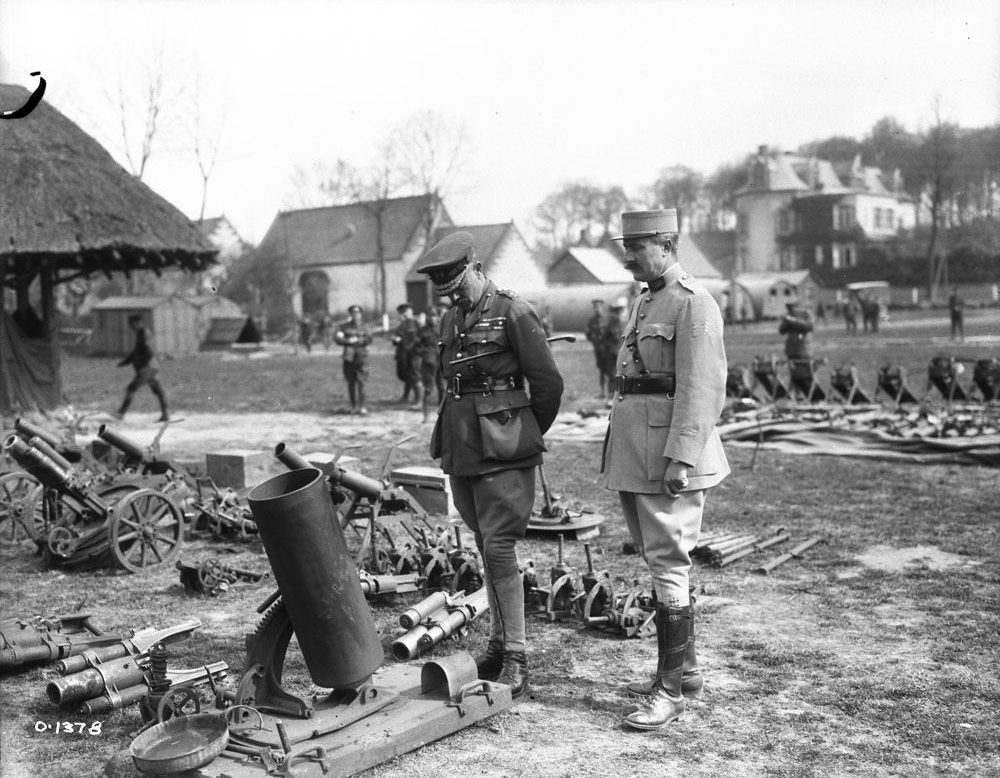 Byng inspecting some German trench mortars taken during the battle at Vimy Ridge (LAC M#3213518).