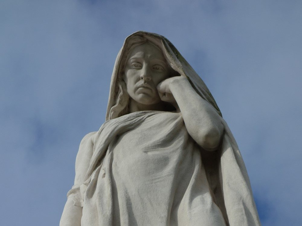 The mournful expression of Mother Canada (Canada Bereft).