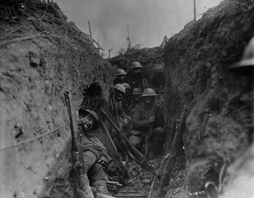 Canadians sheltering in a communication trench, 1916 (LAC M#3395565).