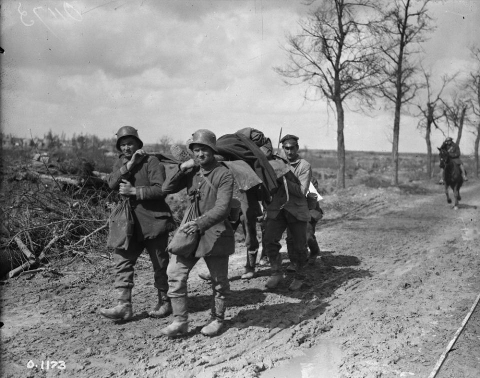 At Vimy, bringing the wounded in via stretcher (LAC M#3521842).