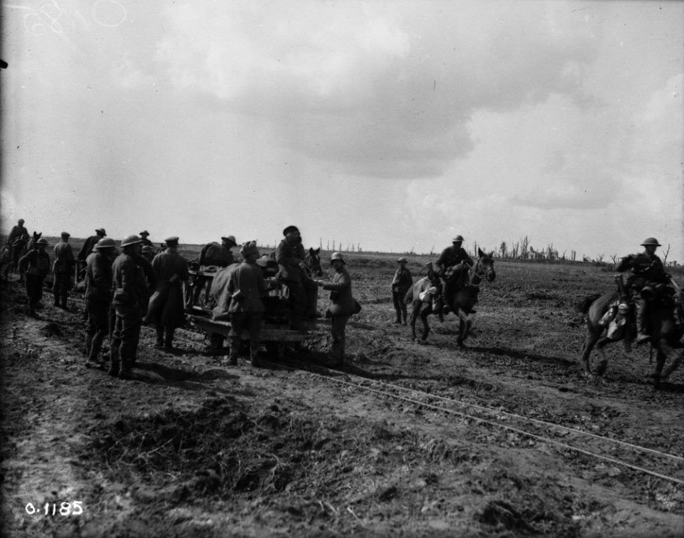 Taking the wounded to a Vimy dressing station (LAC M#3521849).
