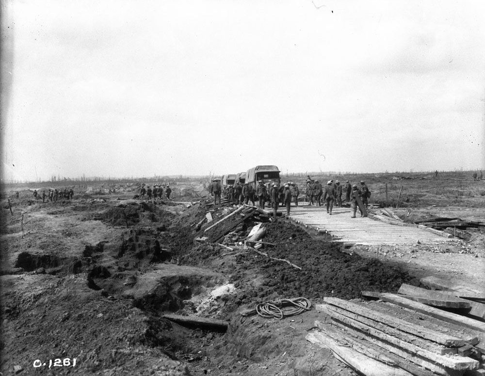 Road building at Vimy in early April, 1917 (LAC M#3521919).