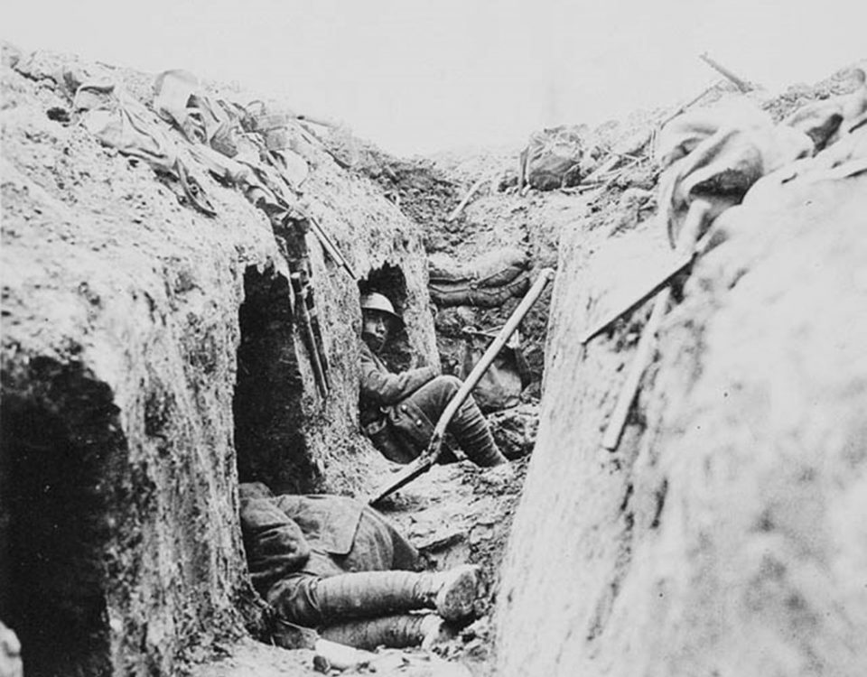 """Occupied """"funk holes"""" in a Canadian trench (LAC M#3194258)."""