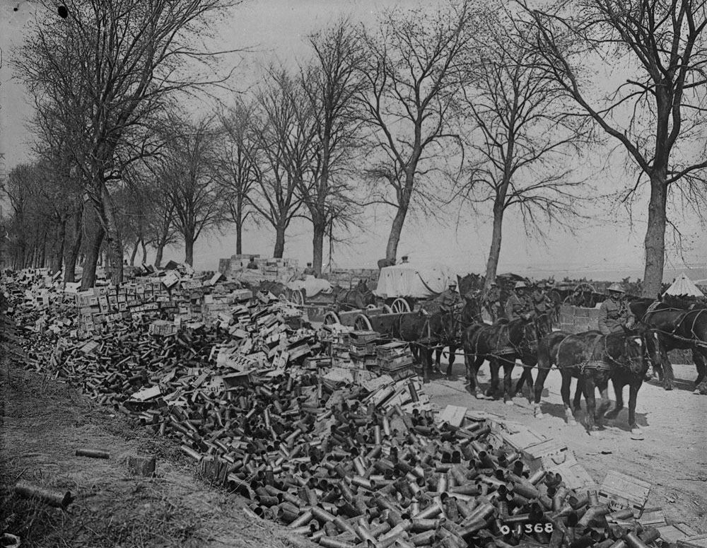 Piles of shells empty after being fired at the German at Vimy Ridge, May 1917 (LAC M#3395246).