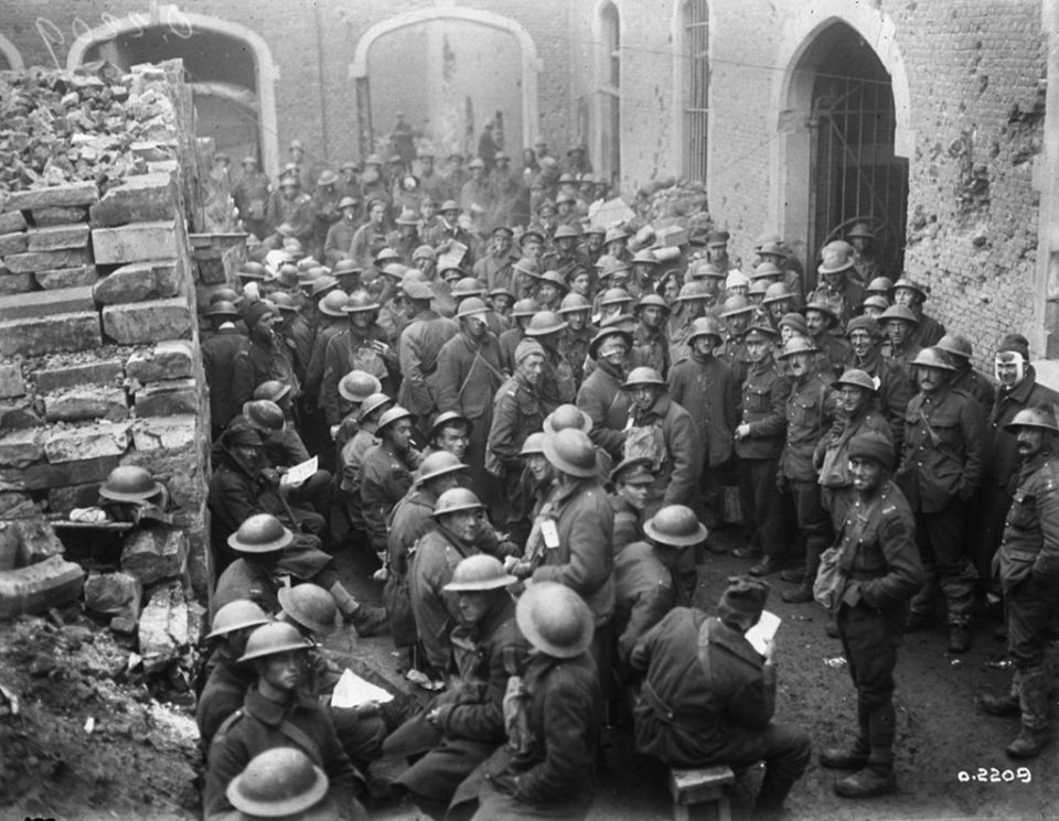 Wounded Canadians at a dressing station at the battle of Passchendaele (LAC M#3397038).