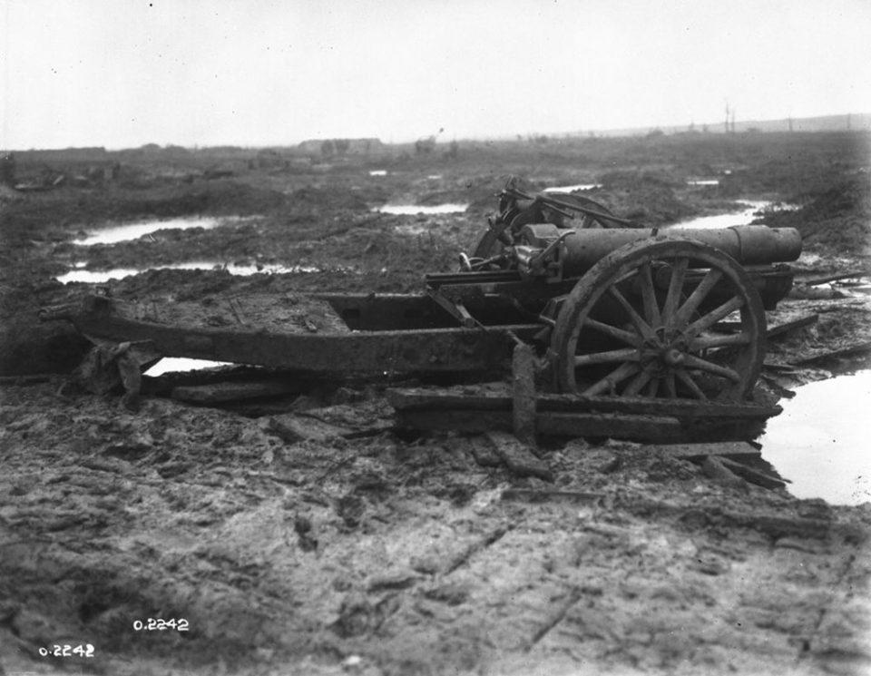 An artillery gun stuck in the mud (LAC M#3395317).