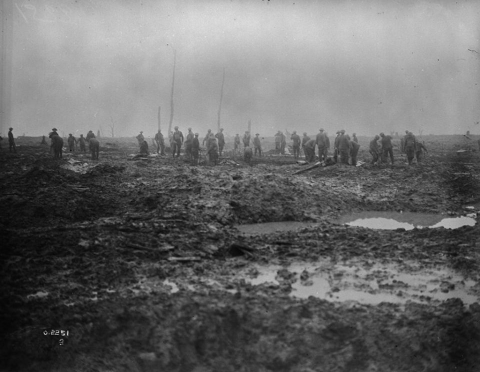 A Canadian pioneer battalion cleaning up the battlefield (LAC M#3405565).