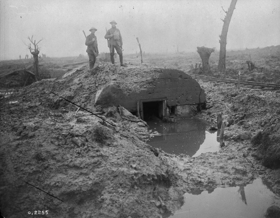 A destroyed German pillbox near Passchendaele (LAC M#3397881).