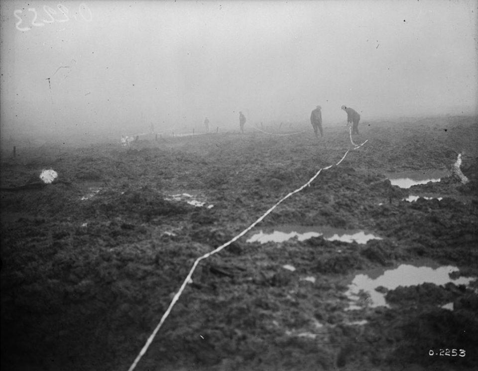 Canadians preparing to build a road at Passchendaele (LAC M#3405566).