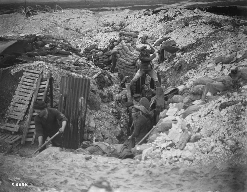 Trench repairs near Lens, January 1918 (LAC M#3395598).