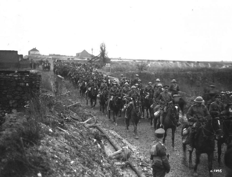 The Fort Garry Horse (calvary) near Cambrai (LAC M#3405685).