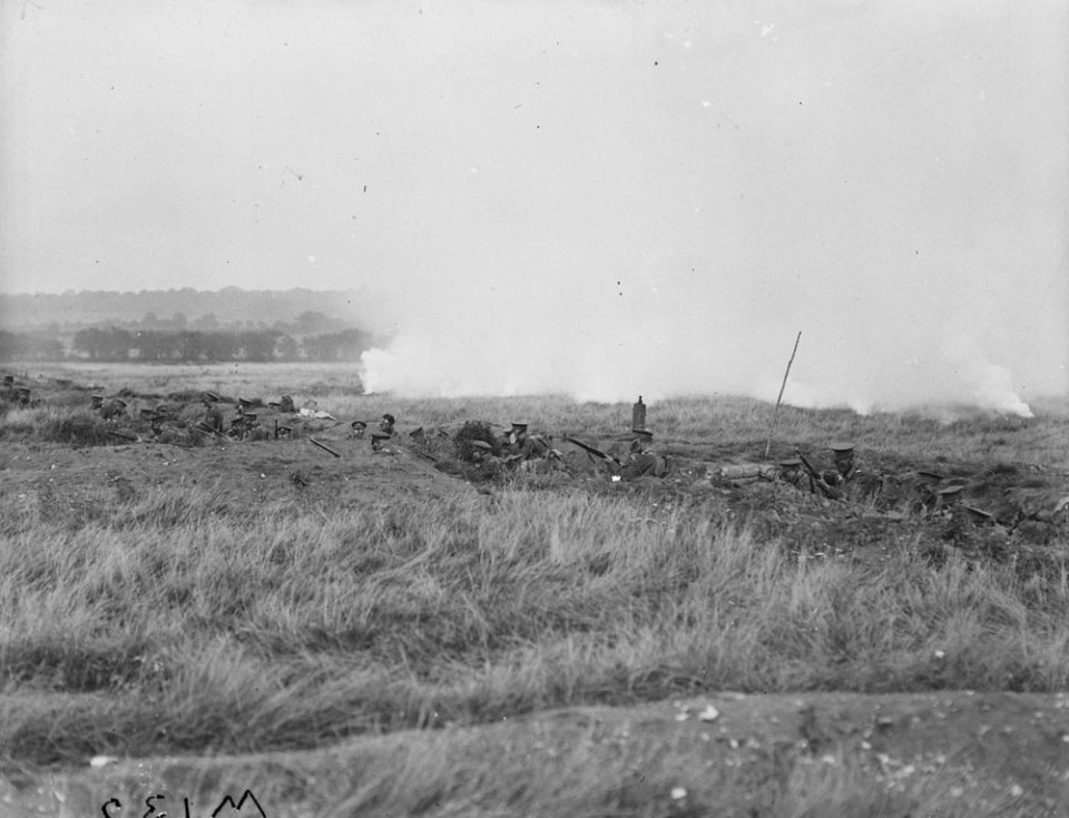 Gas attack practice, Oct. 1917 (LAC M#3404528).