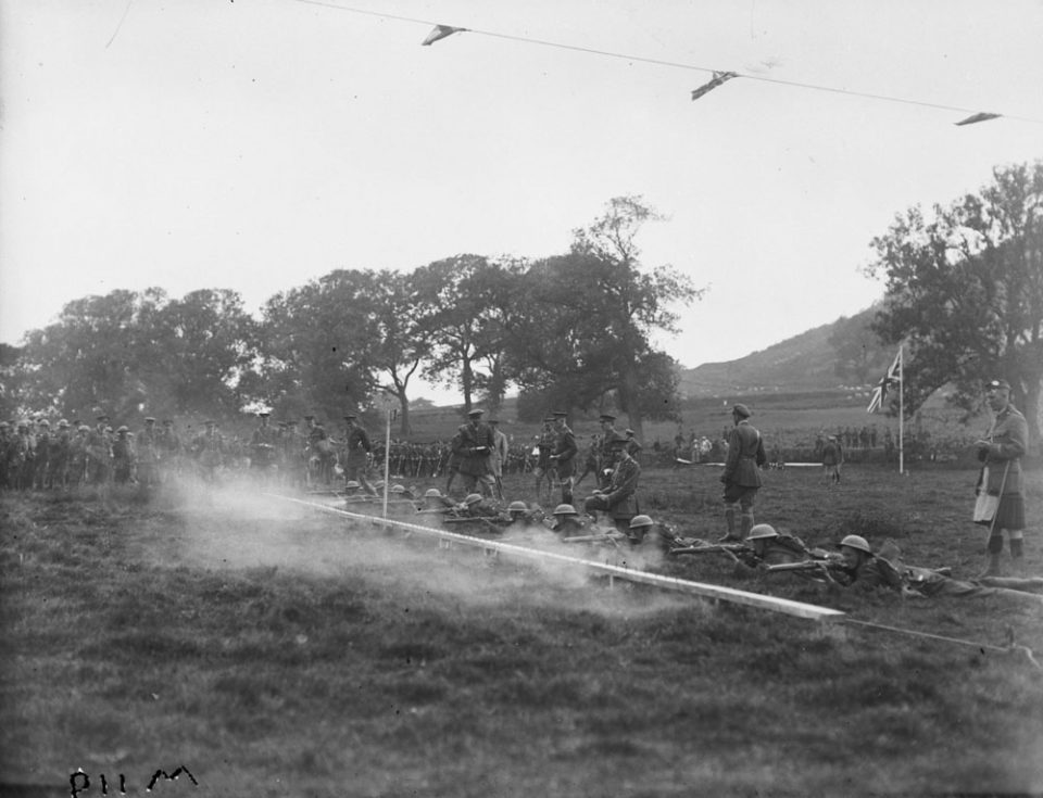 Musketry practice in Britain, Sept. 1917 (LAC M#3404529).