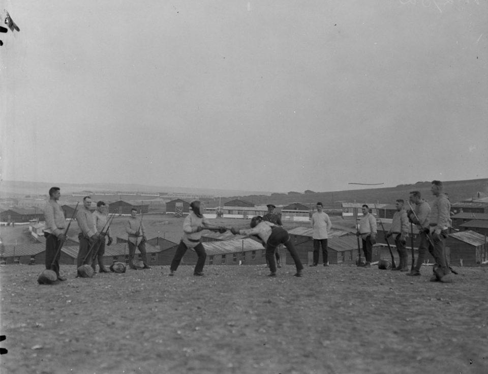 Bayonet practice, Oct. 1917 (LAC M#3406042).